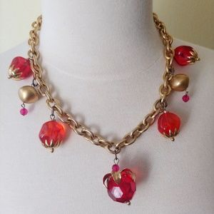 """Chunky Clear Fruit Necklace Pink Orange Gold 18"""""""